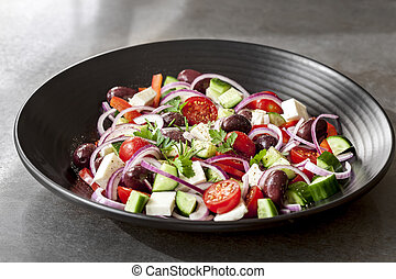 Greek Salad in Black Bowl