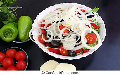 Greek salad is made from fresh ingredients