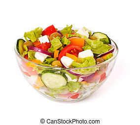 greek salad isolated on white - appetizer; appetizing; ...