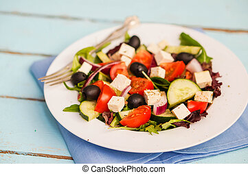 Greek Salad On Wooden Background