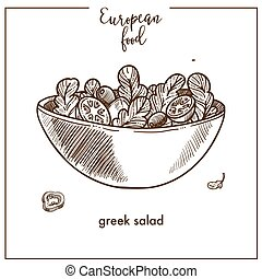 Greek salad sketch icon for European Mediterranean food cuisine menu design
