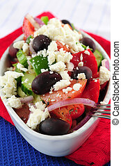 Greek salad with feta cheese and black kalamata olives
