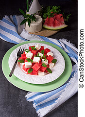 Greek Salad with watermelon, feta and fresh mint