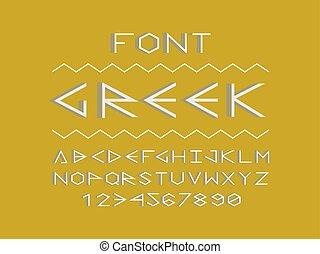 Greek shadow font. Vector alphabet