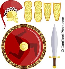 Greek shield, sword, armor and helmet on a white background. Antique weapons of the Greek hoplite. Vector illustration