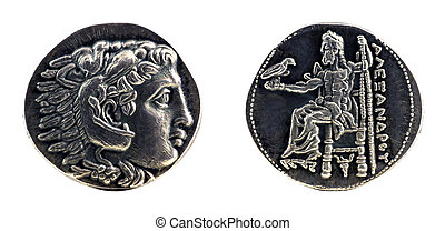Greek silver tetradrachm from Alexander the Great showing Hercules wearing lion skin at obverse and Zeus at reverse, dated 323-315 BC.