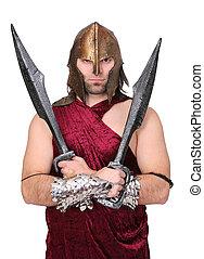 greek soldier - one adult man greek soldier dressed up in...