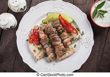 Greek souvlaki skewer