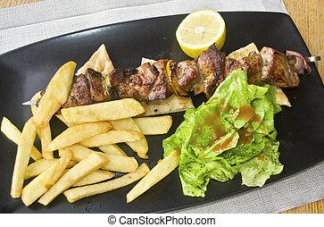 greek souvlaki with pita