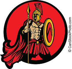 Greek Warrior Mascot holding a shield and spear