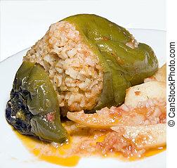 Greek stuffed green pepper photographed  Milos Greece