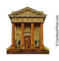 Greek roman or neoclassic style christian church facade front view isolated in white background
