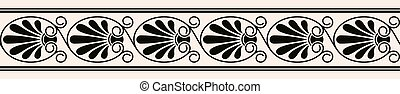 Greek style seamless ornament. Black pattern on a beige background.