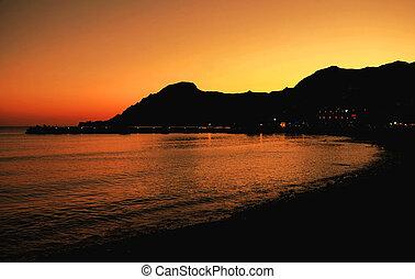 Greek sunset, over Plakias, Crete