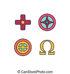 Greek symbols icon, cartoon style