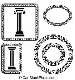 greek symbols - colorful illustration with greek symbols on...