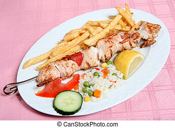Greek taverna chicken souvlaki kebab