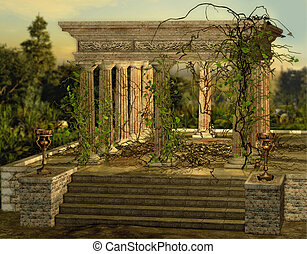 Greek Temple - an ancient Greek temple with a burners and...