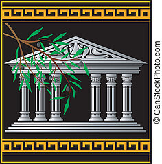 greek temple and olive branch