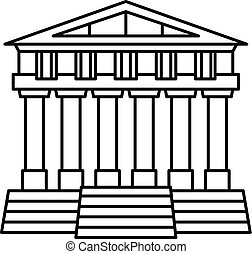 Greek temple icon, outline style