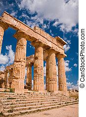 Greek temple in Selinunte - Ruins of greek temple,...