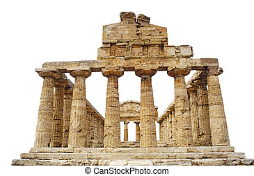 Greek Temple of Athena in Paestum, Italy isolated against...