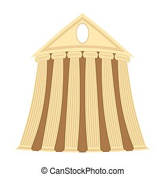 Greek temple of cartoon style on a white background. Vector illustration.