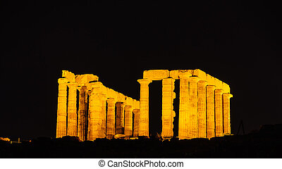 Greek temple of Poseidon at night, Cape Sounio - Night scene...