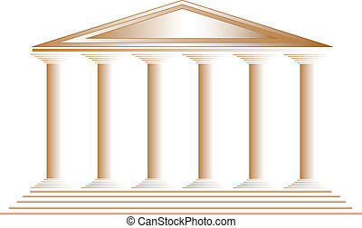 Greek temple on white background - vector illustration for design