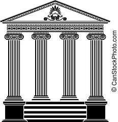 Greek temple stencil third variant with filigree ornament