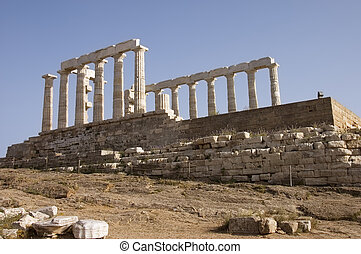 Greek temple of Poseidon (c. 449 B.C) god of the sea in Cape...
