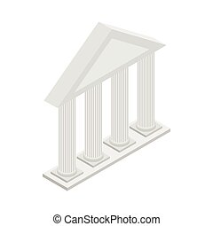 Greek Temple with columns icon, isometric 3d style