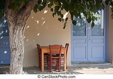 Greek terrace under the tree - Greek furniture as terrace...