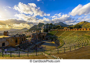 The Ancient theatre of Taormina, constructed by the Greeks in the 3rd century BC is one of the most famous theatres in the world.