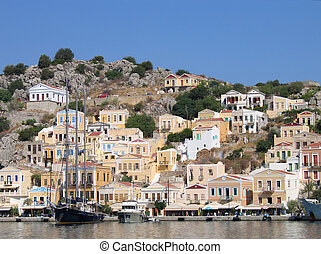 Greek town harbor