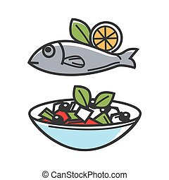 Greek traditional food for Greece travel destination famous tourist culture vector icons
