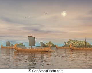Greek trireme boats - 3D render - Old greek trireme boats on...