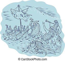 Greek Trireme Navigator Pointing Avoiding Sirens Drawing - ...