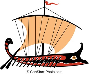 Greek trireme on white background. Vector Illustration