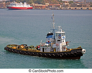 Tugboat in the port of Corfu (Greece)