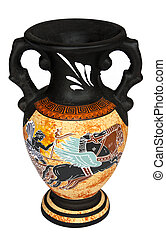Greek Vase - Replica of antique Greek vase isolated on a...