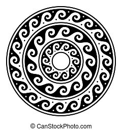 Greek vector mandala, Ancient round meander art in circle isolated on white