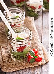 Greek vegetable salad in a jar - Greek vegetable salad in a...