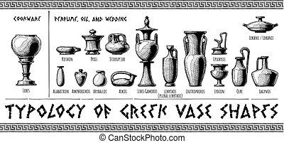 Greek vessel shapes. - Typology of Greek vase shapes. ...