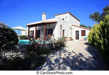 A luxury Greek holiday home or rental villa on the Mediterranean island of Crete