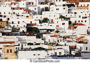 Greek village - View on the old greek town of Lindos,...