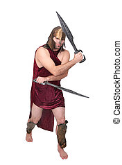 greek warrior - one adult male greek warrior with swords...