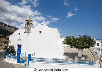 Greek white church in Komitades. Crete. Greece