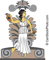 Greek woman with amphoras in classical style colored variant