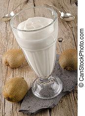 greek yogurt in a large glass